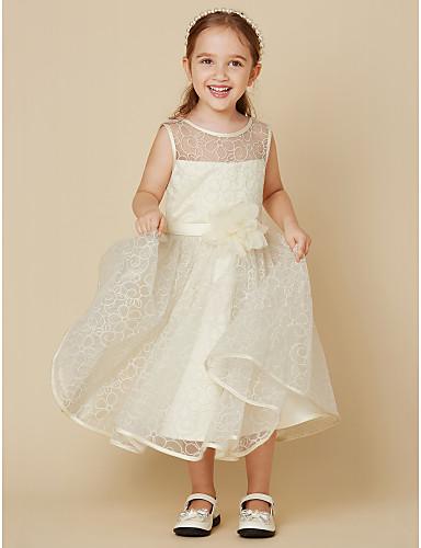 A-linje Knelang Blomsterpikekjole - Blonder Ermeløs Besmykket med Belte / bånd Blomst av LAN TING BRIDE®