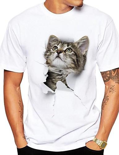 billige T-shirts og undertrøjer til herrer-Rund hals Herre - 3D / Dyr Trykt mønster Gade Plusstørrelser T-shirt Kat Grå XL / Kortærmet / Sommer