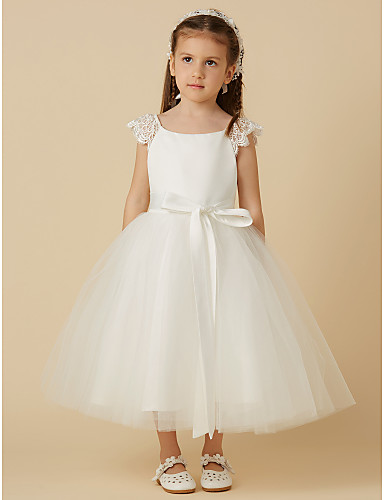 efd8c5fd64a Princess Tea Length Flower Girl Dress - Lace   Satin   Tulle Short Sleeve  Scoop Neck with Bow(s)   Sash   Ribbon by LAN TING BRIDE®