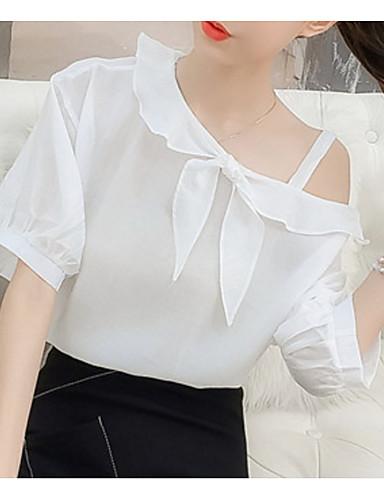 Bluzka Damskie Na jedno ramię Jendolity kolor