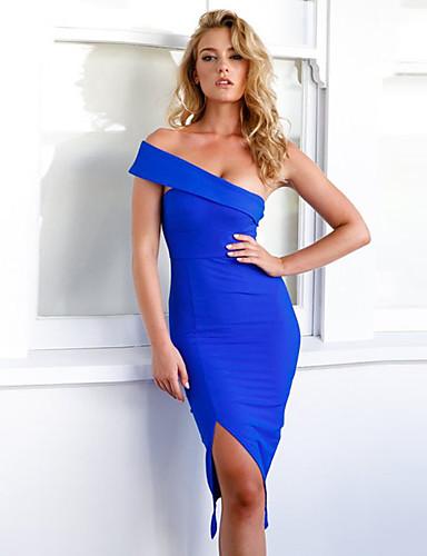 Damskie Bodycon / Pochwa Sukienka - Jendolity kolor, Bez pleców Przed kolano