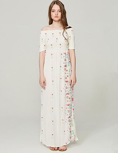 Damskie Wzornictwo chińskie Shift Sukienka - Pled, Haftowane Maxi