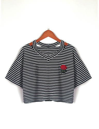 billige Topper til damer-Bomull Puffermer T-skjorte Dame - Ensfarget, Flettet Vintage Svart og hvit Svart M / fin Stripe