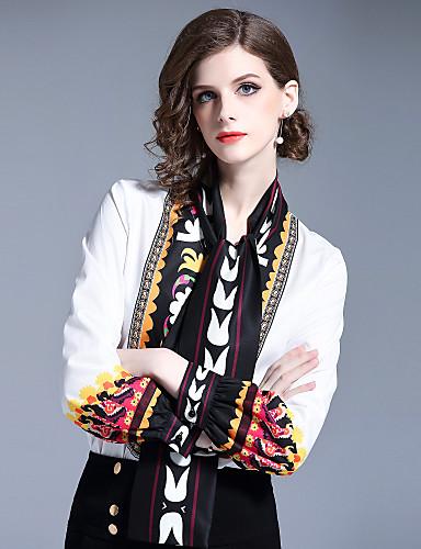 Koszula Damskie Aktywny / Moda miejska, Nadruk Praca Kołnierz stawiany Geometric Shape / Wzory kwiatów
