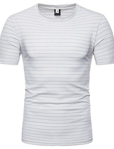 T-shirt Męskie Podstawowy Bawełna Okrągły dekolt Szczupła - Solidne kolory / Prążki / Krótki rękaw