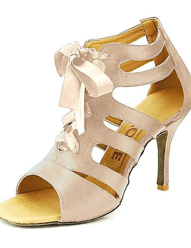 abordables Déstockage Mariages & Soirées-Femme Chaussures de danse Satin Salon / Chaussures de Salsa Boucle Sandale Personnalisables Bronze / Noir / Rouge / EU42