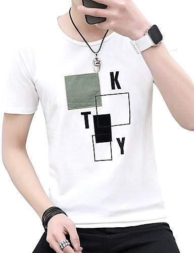 T-shirt Męskie Aktywny / Moda miejska, Nadruk Bawełna Plaża Okrągły dekolt Szczupła - Solidne kolory / Kratka / Litera / Krótki rękaw