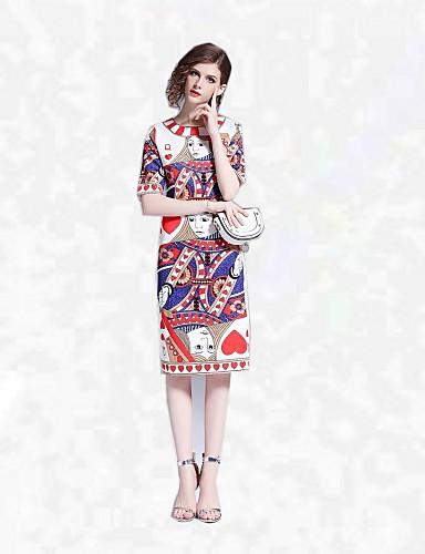 Pentru femei Mărime Plus Size Concediu / Ieșire Șic Stradă Bumbac Zvelt Bodycon Rochie Floral Talie Înaltă Sub Genunchi / Vară