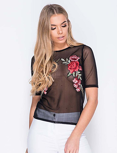 20f46e99582 Women s Going out   Club T-shirt - Floral Mesh U Neck Black M   Super Sexy