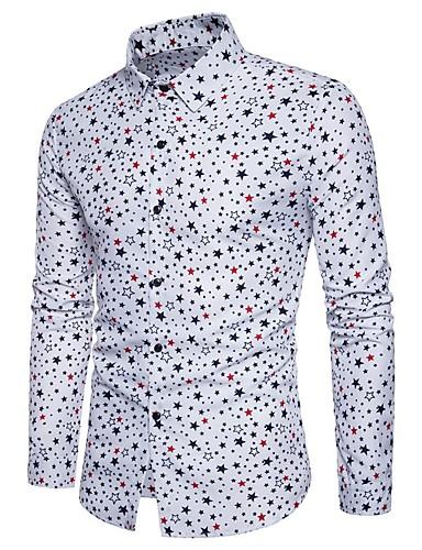 Bărbați Cămașă Bumbac Geometric / Va rugăm selectați cu o mărime mai mare decât purtați. / Manșon Lung