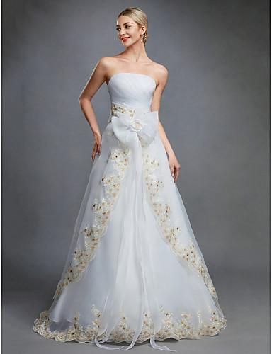 Báli ruha Pánt nélküli Földig érő Organza Made-to-measure esküvői ruhák val vel Csokor / Hímzés / Pántlika / szalag által LAN TING BRIDE®