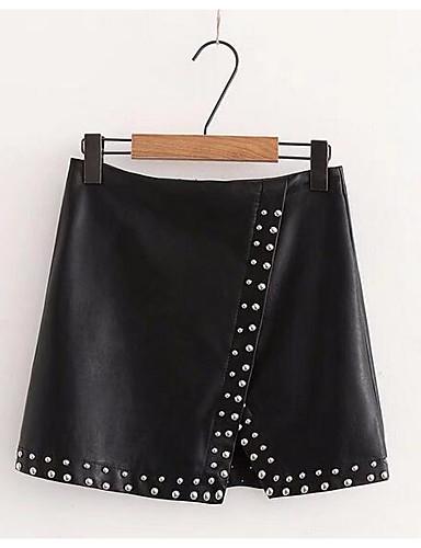 Damskie Vintage Bawełna Bodycon Spódnice Jendolity kolor Niebiesko-biały / Czarno-czerwony, Plisy