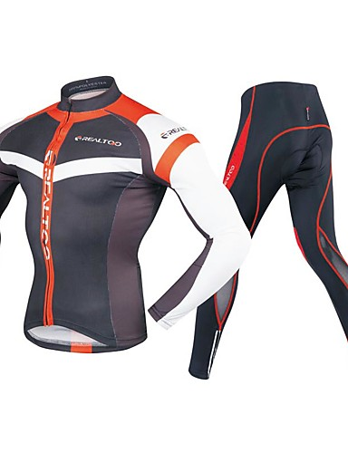 cheap Cycling Clothing-Realtoo Men's Long Sleeve Cycling Jersey with Tights - Black / Red Bike Clothing Suit 3D Pad Sports Polyester Spandex Geometric Mountain Bike MTB Road Bike Cycling Clothing Apparel / Stretchy