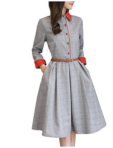 Damskie Moda miejska Sukienka swingowa Sukienka - Prążki Przed kolano