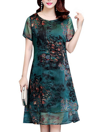 Women's Plus Size Shift Dress - Floral