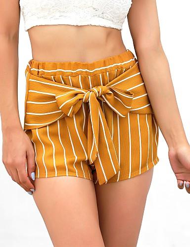 billige Tights til damer-Dame Bohem Strand Helg Shorts Bukser - Stripet Gul S M L