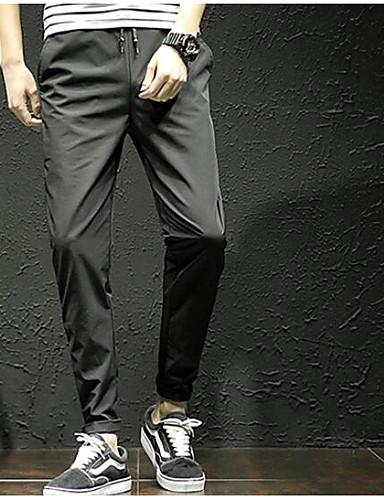 Męskie Prosty / Zabytkowe Rozmiar plus Bawełna / Len Haremki Spodnie - Plisy, Jendolity kolor