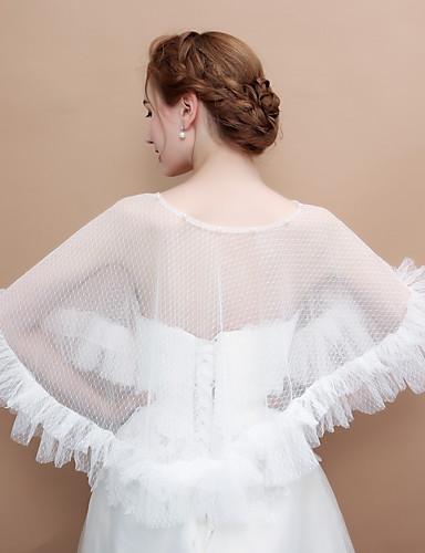 abordables Boléros de Mariage-Sans Manches Coton / Tulle Mariage / Fête / Soirée Etoles de Femme Avec Imitation Perle / Ruché Capes Poncho
