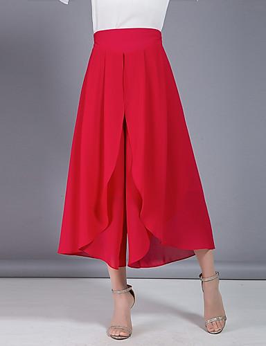 Damskie Moda miejska Rozmiar plus Luźna Spodnie szerokie nogawki Spodnie - Plisy, Jendolity kolor Wysoka Talia / Wiosna