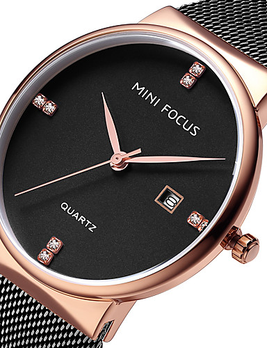 MINI FOCUS Bărbați Ceas de Mână Quartz Calendar Ceas Casual Oțel inoxidabil Bandă Analog Lux minimalist Negru / Albastru / Auriu - Albastru Roz auriu Negru / Roz auriu