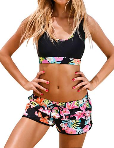 billige Dametopper-Dame Sporty stil Blomstret Sporty Svart Boy Leg Bikini Badetøy - Blomstret Trykt mønster L XL XXL Svart