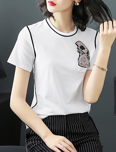 T-shirt Damskie Aktywny / Podstawowy Bawełna Wyjściowe Solidne kolory / Lato