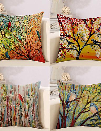 billige Rom-pakke med 4, botanisk dyr oljemaleri kunstnerisk pastoral stil bomull sengetøy dekorative firkant kaste pute dekker sett pute tilfelle for sofa soverom bil