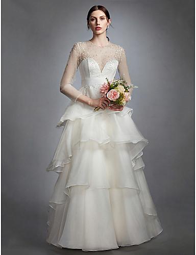 A-라인 환상 목걸이 바닥 길이 오간자 Made-To-Measure 웨딩 드레스 와 티어드 으로 LAN TING BRIDE® / 시쓰루