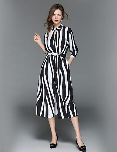 98a0722c0112 Γυναικεία Αργίες Βασικό   Κομψό στυλ street Swing Φόρεμα - Ριγέ ...