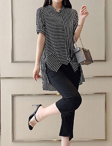 billige Todelt dress til damer-Dame Arbeid Gatemote / Sofistikert Store størrelser Sett Bukse - Delt, Stripet Crew-hals / Sommer / fin Stripe