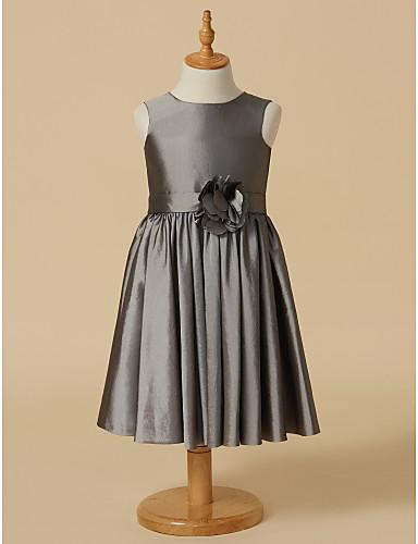 Sheath / Column Knee Length Flower Girl Dress - Taffeta Sleeveless Scoop Neck with Sash / Ribbon Flower by LAN TING BRIDE®