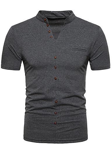 T-shirt Męskie Aktywny / Podstawowy Bawełna Okrągły dekolt Szczupła - Solidne kolory / Krótki rękaw