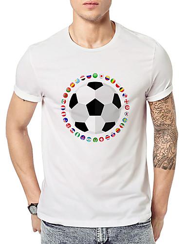 billige T-shirts og undertrøjer til herrer-Rund hals Herre - Geometrisk Trykt mønster Aktiv / Basale Sport T-shirt Hvid XL / Kortærmet