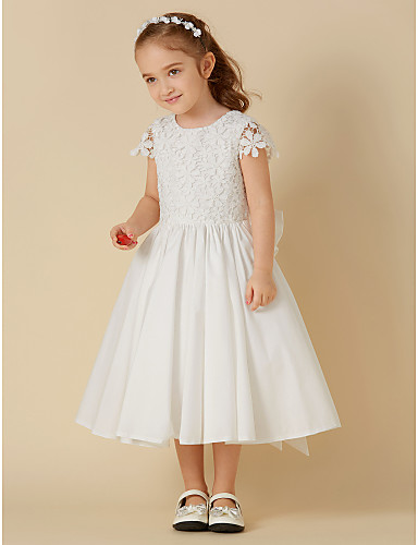 599b26b2668 A-Line Knee Length Flower Girl Dress - Cotton   Lace Short Sleeve Scoop Neck  with Bow(s) by LAN TING BRIDE®