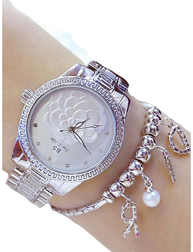 cheap Floral Watches-Women's Dress Watch Quartz Stainless Steel Silver / Gold 50 m Chronograph Analog Ladies Casual - Gold Silver Two Years Battery Life