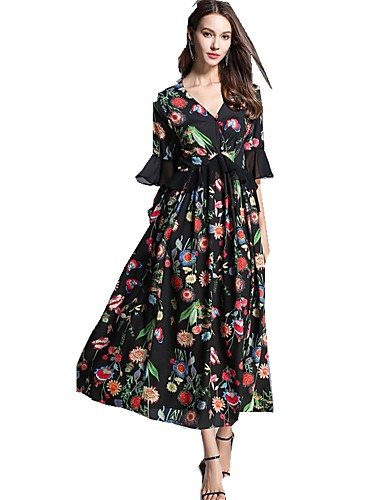733ffb748a99 Γυναικεία Κινεζικό στυλ Flare μανίκι Σιφόν Φόρεμα - Γεωμετρικό