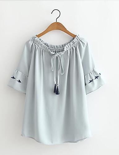 T-shirt Damskie Wyjściowe Jendolity kolor