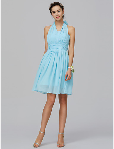 baaf9b2fd7 A-Line Halter Neck Short   Mini Chiffon Bridesmaid Dress with Ruched by LAN  TING BRIDE®  02728783