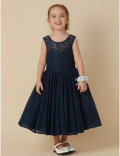 Krój A Do kolan Sukienka dla dziewczynki z kwiatami - Koronka Bez rękawów Wycięcie z Kokardki przez LAN TING BRIDE®