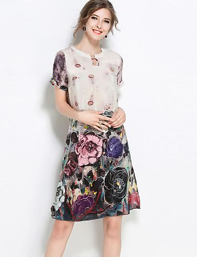 Damskie Wzornictwo chińskie Shift Sukienka - Kwiaty, Nadruk Do kolan