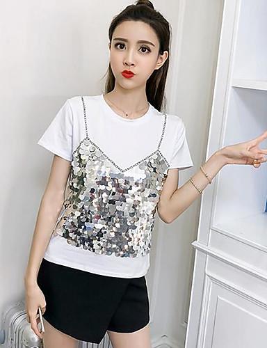 T-shirt Damskie Bawełna Wyjściowe Jendolity kolor