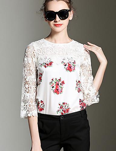cămașă pentru femei - gât rotund floral