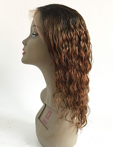 billige Blondeparykker med menneskehår-Ubehandlet hår Blonde Forside Parykk Lagvis frisyre Rihanna stil Brasiliansk hår Bølget Rødbrun Parykk 130% Hair Tetthet med baby hår Ombre-hår Mørke røtter Dame Kort Medium Lengde Lang