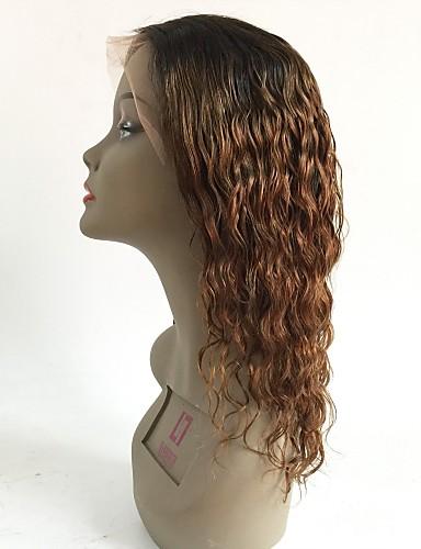 povoljno Perike s ljudskom kosom-Virgin kosa Lace Front Perika Stepenasta frizura Rihanna stil Brazilska kosa Wavy Kestenjast Perika 130% Gustoća kose s dječjom kosom Ombre Tamni korijeni Žene Kratko Srednja dužina Dug Perike s