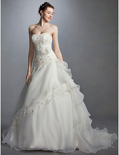 play video. cheap Wedding Dresses-Princess Sweetheart Neckline Court Train  Lace ... 732d33593497