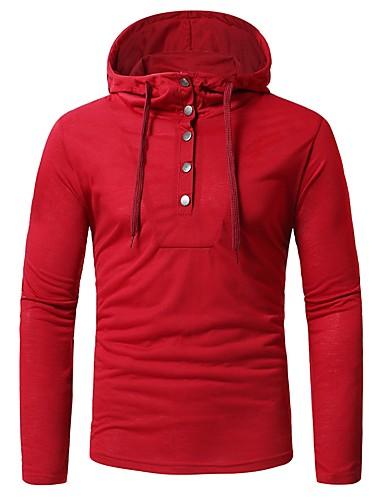 cheap Men's Hoodies & Sweatshirts-Men's Basic Hoodie - Solid Colored Red XL