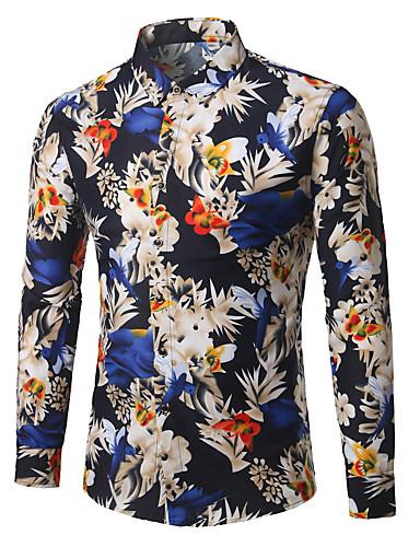 voordelige Herenoverhemden-Heren Zakelijk Grote maten - Overhemd Katoen, Werk Bloemen blauw / Lange mouw