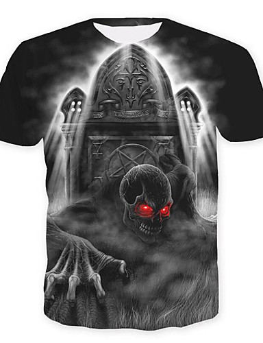 T-shirt Męskie Lebky / Podstawowy, Nadruk Czaszki