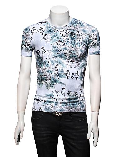 Bărbați Rotund - Mărime Plus Size Tricou Mătase Floral / Va rugăm selectați cu o mărime mai mare decât purtați. / Manșon scurt / Zvelt