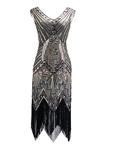 210cd5aeeeb Ίσια Γραμμή Λαιμόκοψη V Μέχρι το γόνατο Πολυεστέρας Φανταχτερό / Μικρό  Μαύρο Φόρεμα / Μπλοκ χρωμάτων Κοκτέιλ Πάρτι Φόρεμα με Πούλιες / Κρυστάλλινη  ...